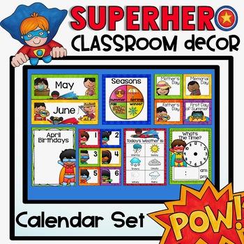 Calendar Set {Superhero Classroom Decor Theme}