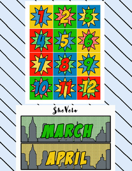 Super Hero Calendar Set - Months, Days, Numbers, Special Days
