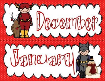 Super Hero Calendar Set (with a few additional friends)
