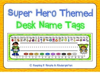 Super Hero Charts, Labels and Desk Name Tags - Bundled