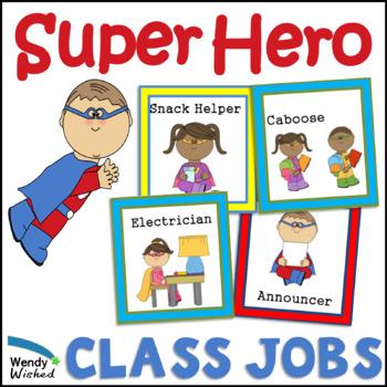 Super Hero Class Helper Job Cards for Chart or Bulletin Board