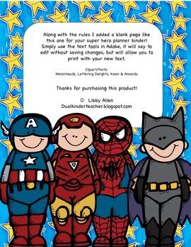 Super Hero Class Rules English