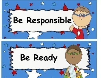 Super Hero Class Rules or Expectation Signs with Stars Bulletin Board Posters