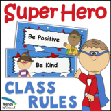 Super Hero Class Rules or Expectation Signs with Stars Bul