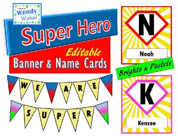 Super Hero Classroom Decor EDITABLE Name Logo and Banner for Back to School
