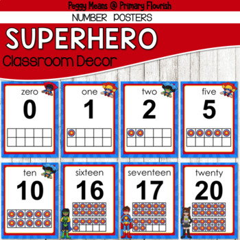 Super Hero Classroom Decor {Number Posters}