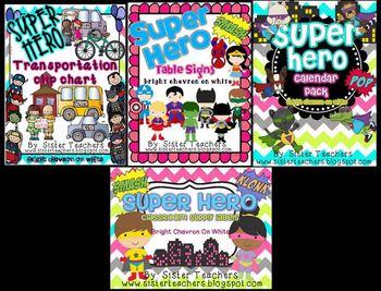 Super Hero Classroom Decor Pack ~Bright Chevron on White~