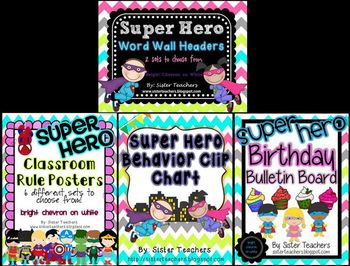 Super Hero Classroom Decor Pack ~Bright Chevron on White~