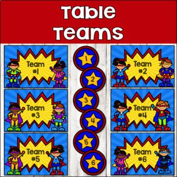 Super Hero Classroom Decor {Table Teams & Hall Passes}
