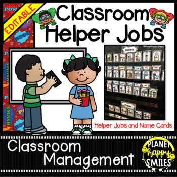 Classroom Helper Jobs (EDITABLE) ~ Super Hero Theme