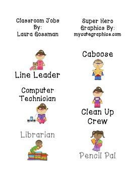 Super Hero Classroom Jobs Set