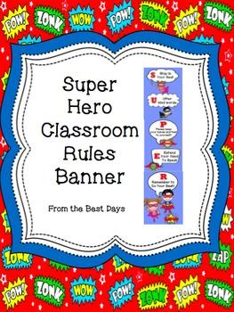 Super Hero Classroom Rules Banner