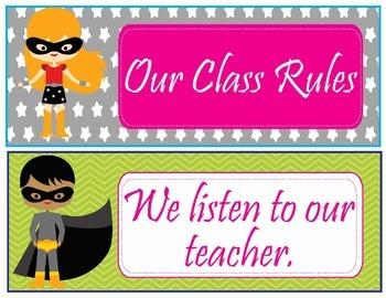 Super Hero Classroom Rules - EDITABLE