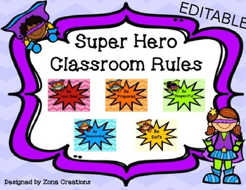 EDITABLE Super Hero Classroom Rules Poster Set