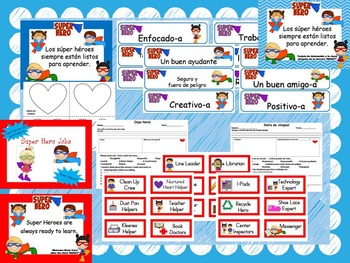 Super Hero Classroom Set Spanish and English