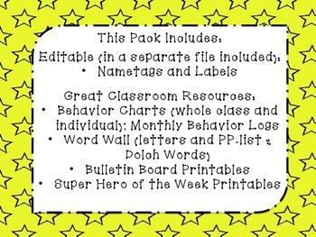 Super Hero Classroom Theme Resource Pack