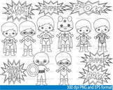 Super Hero Clip Art SCHOOL outline stamp coloring page line superman Print -047-