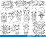 Super Hero Clip Art SCHOOL outline stamp coloring page line superman Print -047-