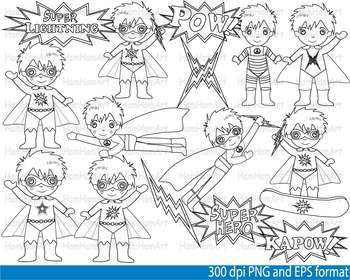 Super Hero Clip Art SCHOOL outline stamp coloring page line superman Print -098-