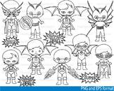 Super Hero Clip Art SCHOOL outline stamp coloring page line superman Print -106-