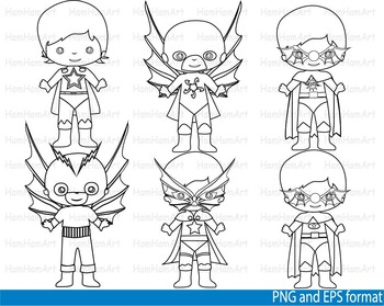 Super Hero Clip Art SCHOOL outline stamp coloring page line superman Print -106-