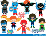 Super Hero Clip Art school halloween decor comic book birthday invitation -0105-