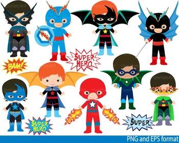 Super Hero Clip Art school halloween decor comic book birthday invitation -0105-