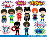 Super Hero Clip Art school halloween decor comic book birthday invitation -044-