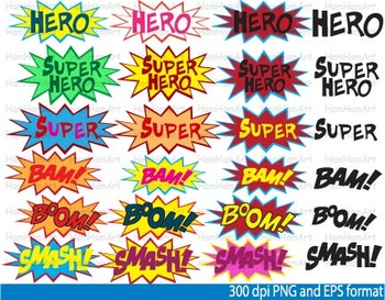 Super Hero Clip Art school halloween decor comic book birthday invitation -044-