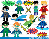 Super Hero Clip Art school halloween decor comic book birthday invitation -097-