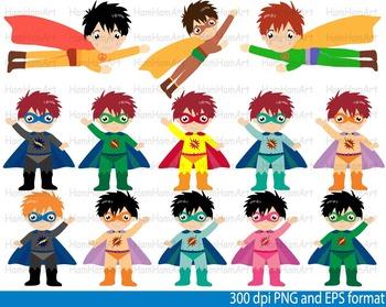 Super Hero Clip Art school halloween decor comic book birthday invitation -097-