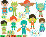 Super Hero Clip Art school halloween decor comic book birthday invitation -94s-
