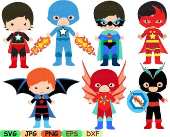 Super Hero Clip Art school halloween decor comic book birthday invitation -94s-