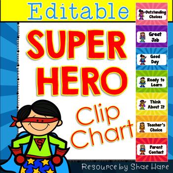Super Hero Behavior Clip Chart {EDITABLE} Positive Behavior Management [labels]