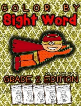 Super Hero Color By Sight Word - Grade 2 Edition