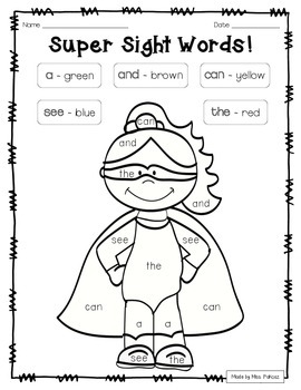 Super Hero Color By Sight Word - PrePrimer Edition