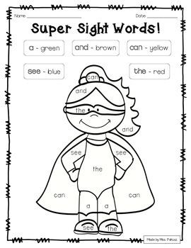 Super Hero Color By Sight Word - PrePrimer Edition