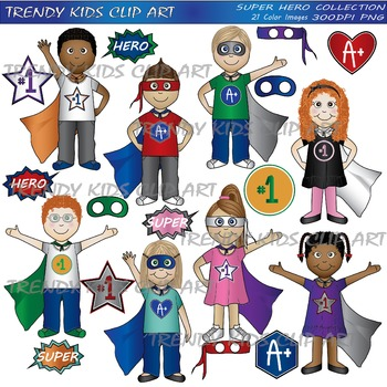 Super Hero Color Clip Art