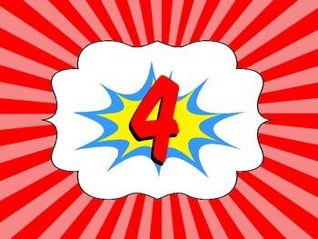Super Hero Comic Table Numbers