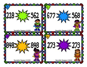 Super Hero Comparing 3 Digit Numbers Task Cards