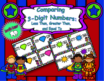 Super Hero Comparing 3 Digit Numbers Task Cards
