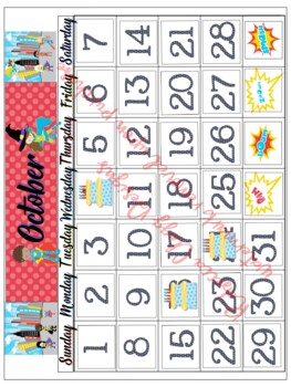 Super Hero Complete Calendar Kit for Classroom and learning Days of the Month