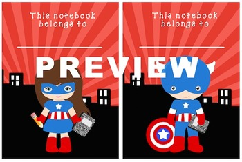Super Hero Composition Book/ Notebook Labels
