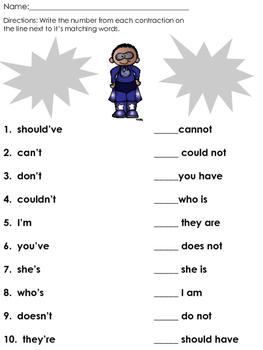 Super Hero Contraction Worksheet *FREEBIE*