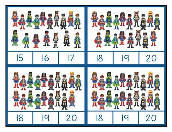 Super Hero - Counting 1-20 Clip Cards for Independent Practice