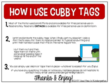 Super Hero Cubby Tags- Bright Colors