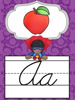 Cursive Alphabet Posters {Superhero Classroom Decor Theme}