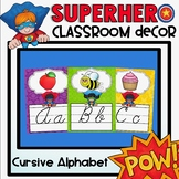 Cursive Alphabet Posters in a Superhero Classroom Decor Theme