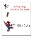 Super Hero Days of the Week Traceable Cards