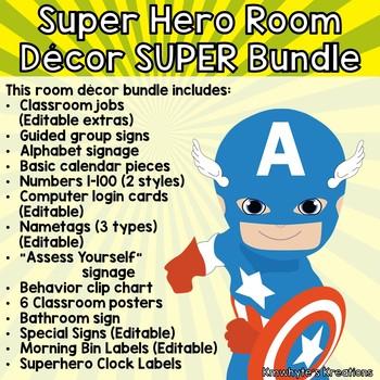 Super Hero Decor SUPER Bundle w/ Editable Nametags
